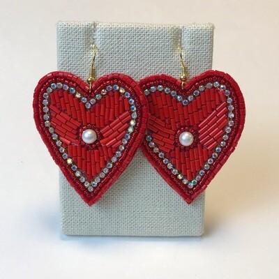 Red Heart w Pearl - Beaded Earrings
