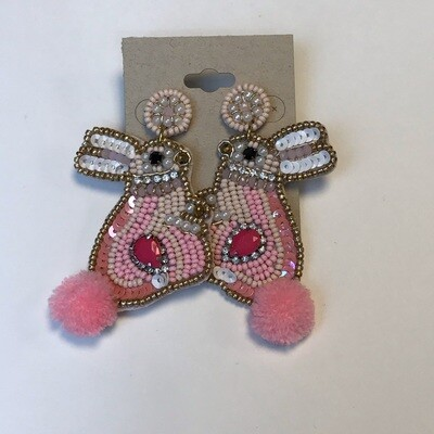 Light Pink Bunny - Beaded Earrings