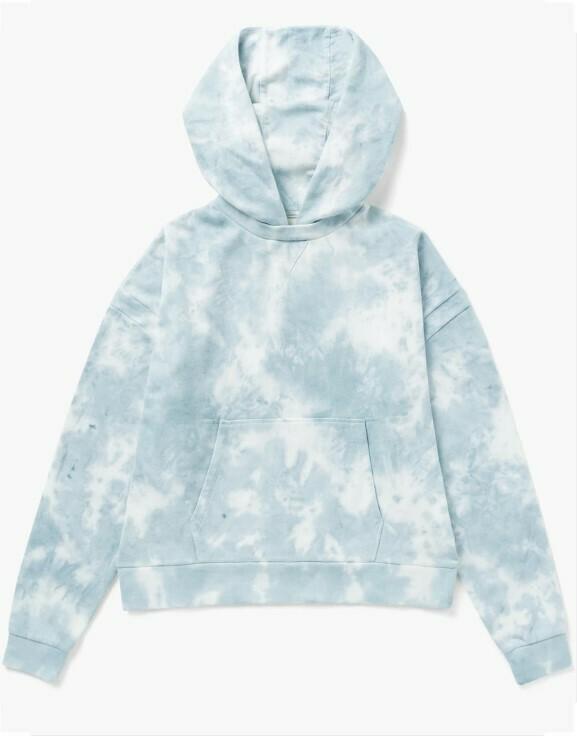 Women's Recycled Fleece Hoody - Blue Cloud Tie Dye
