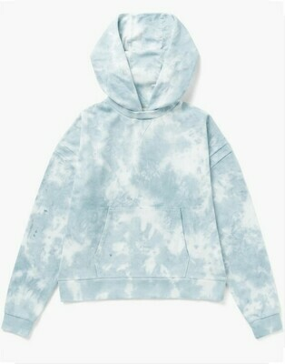 Women's Recycled Fleece Hoody - Blue Cloud Tie Dye