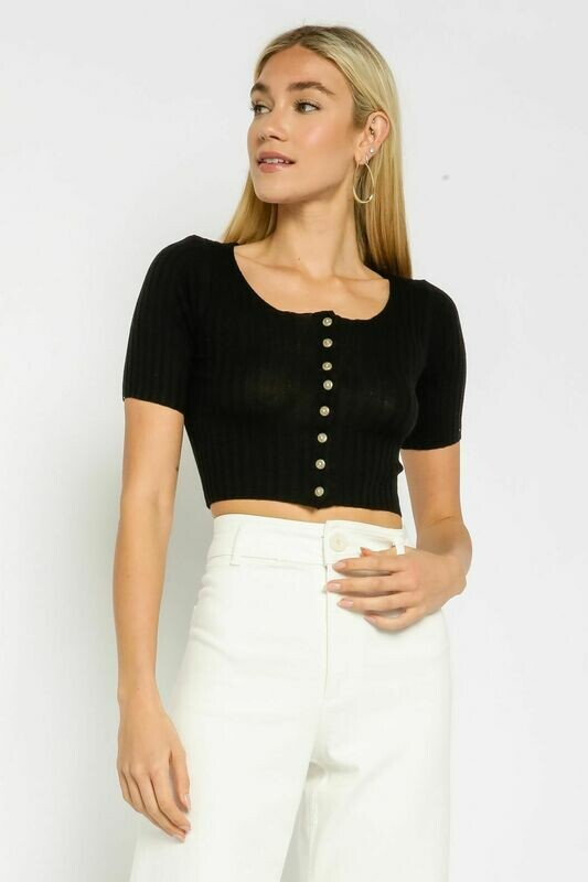 Ribbed Button Up Tee Black