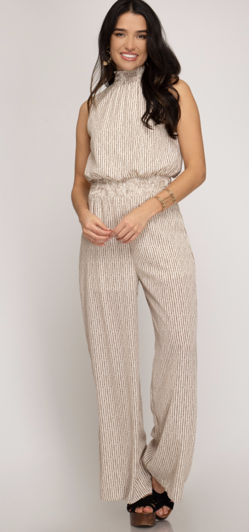 smocked neck jumpsuit