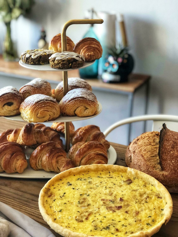 Quiche, Croissants, Coffee & Tea for 25