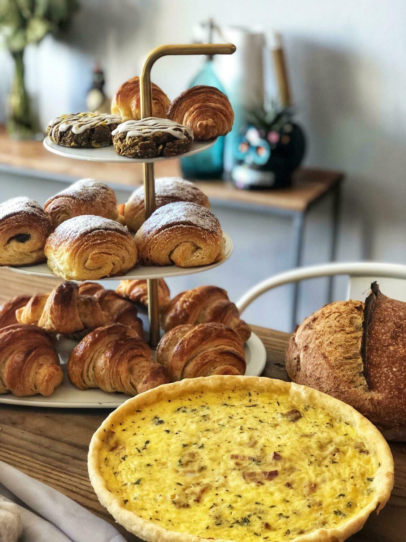 Quiche, Croissants, Sweet Bread, Coffee & Tea for 25