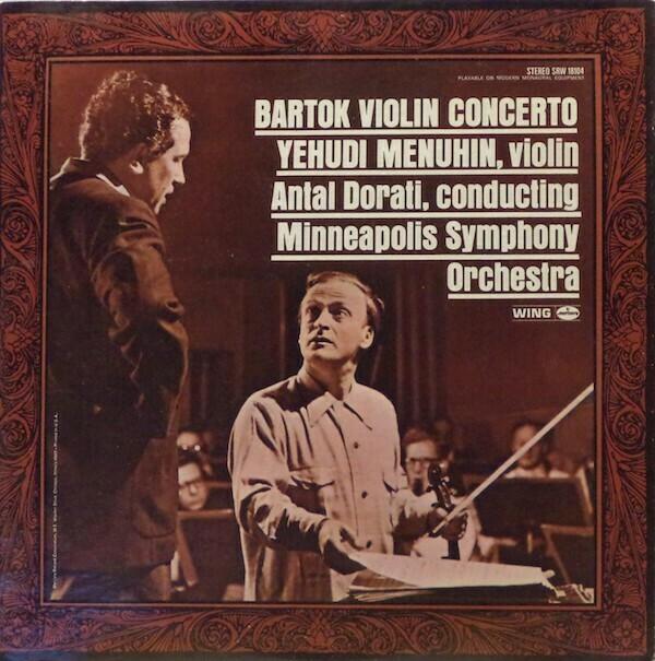 """Yehudi Menuhin """"Bartok Violin Concerto"""" VG+ 1969"""