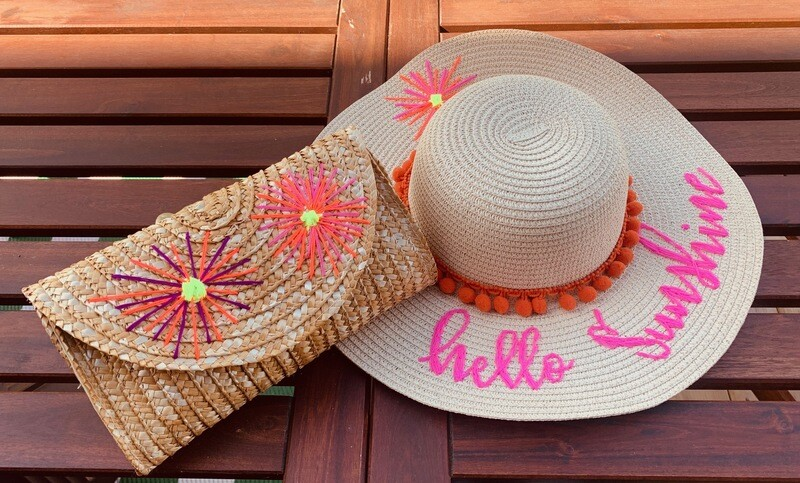 Straw Sun Hat and matching Clutch
