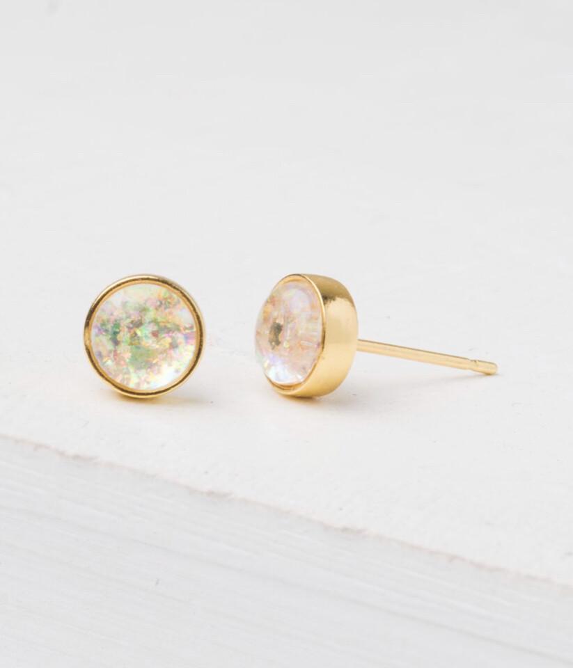 Mina Gold And Opal Stud Earrings