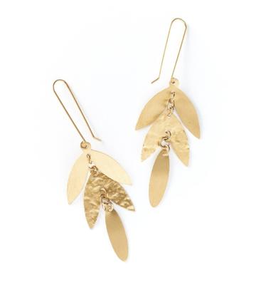 Chameli Earrngs Gold Leaf