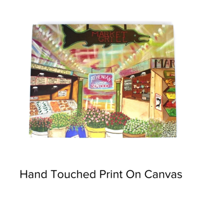 Deborah's Trailer Trash Canvas Hand Touched Pike Place Market Scene