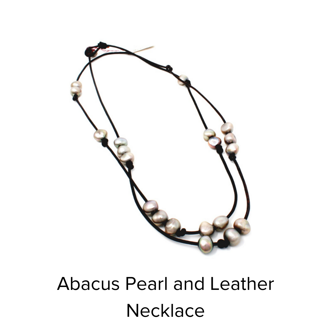 Moo Young Abacus Pearl Leather Plum Necklace