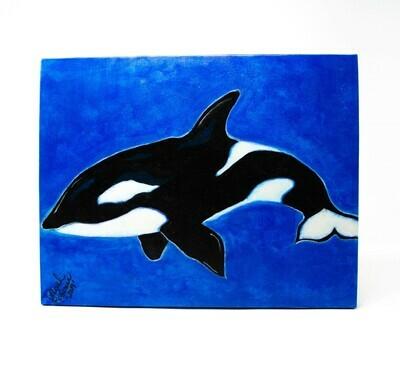 Deborah's Trailer Trash Canvas Hand Touched Orca