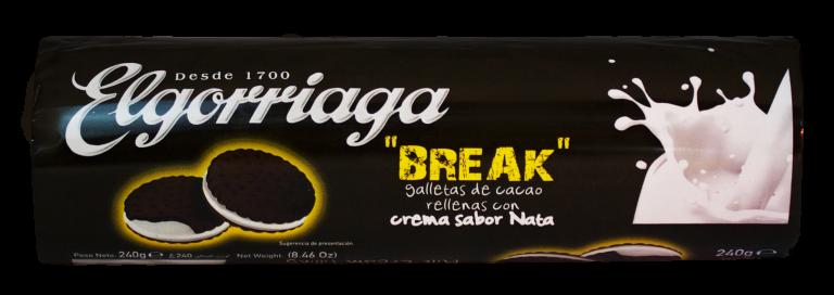Galletas de chocolate rellenas de nata ELGORRIAGA 2x90gr paquete