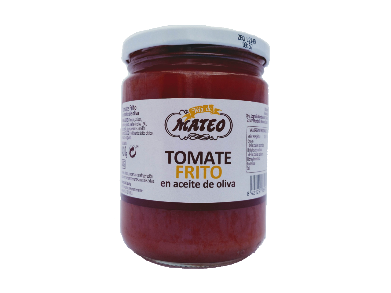 Tomate frito casero en aceite de oliva VDA DE MATEO tarro 410gr