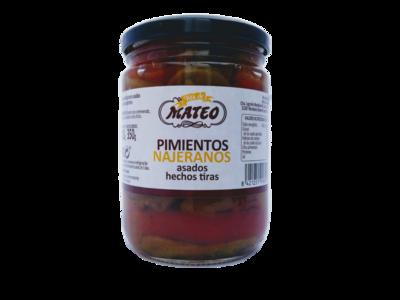 Pimientos najeranos asados tiras VDA DE MATEO tarro 350gr