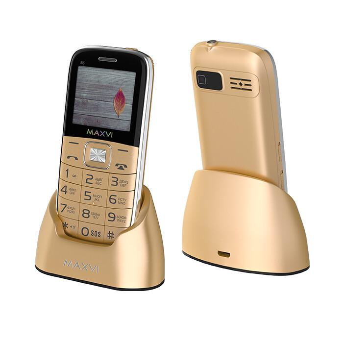 Сотовый телефон Maxvi B6 золотистый