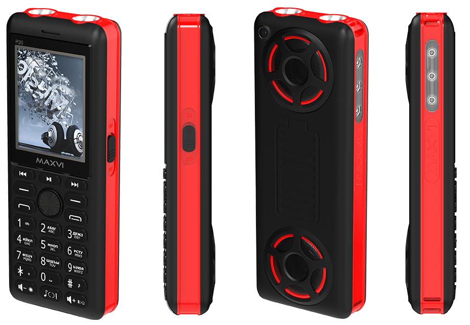 Сотовый телефон Maxvi P20 черный/красный