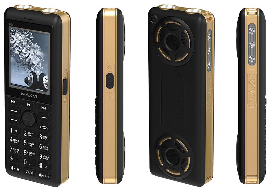 Сотовый телефон Maxvi P20 черный/золотой