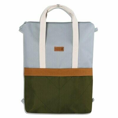 MULINU   Backpack GRETA light grey olive green