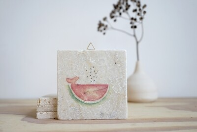 evimstore | Printed Natural Stone Tile - Melon Whale