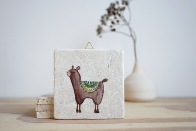 evimstore | Printed Natural Stone Tile - llama dark brown