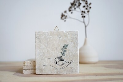 evimstore | Printed Natural Stone Tile - House with hand (new home)