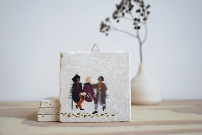 evimstore | Printed Natural Stone Tile - Women on Bench