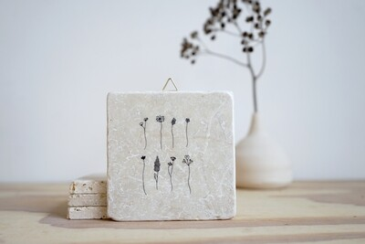 evimstore | Printed Natural Stone Tile - Minimal flowers