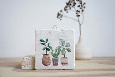 evimstore | Printed Natural Stone Tile - Plants in pot