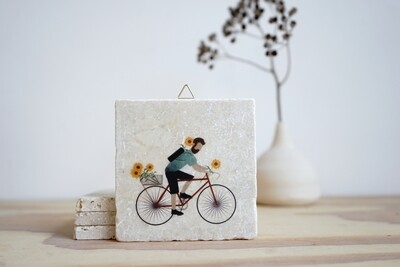 evimstore | Printed Natural Stone Tile - Cyclist with flowers (man)