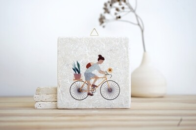 evimstore | Printed Natural Stone Tile - Cyclist with flowers (woman)