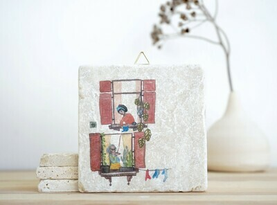 evimstore | Printed Natural Stone Tile - Women at the window
