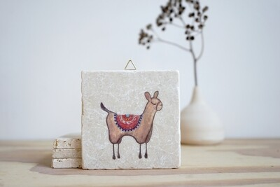 evimstore | Printed Natural Stone Tile - llama light brown
