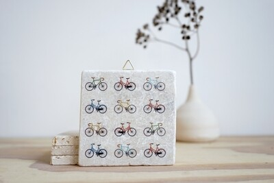 evimstore | Printed Natural Stone Tile - Colorful Bicycles
