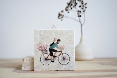 evimstore | Printed Natural Stone Tile - Cyclist with cherryblossoms