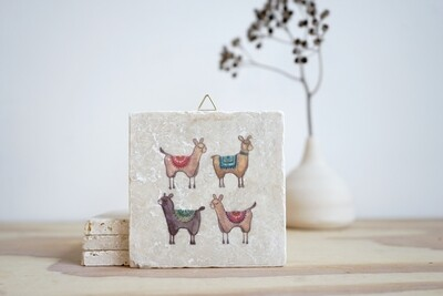 evimstore | Printed Natural Stone Tile - llamas