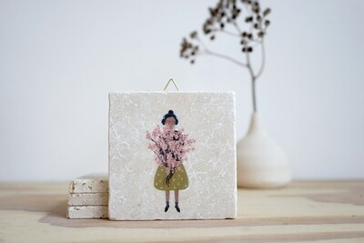 evimstore | Printed Natural Stone Tile - Cherryblossom woman