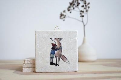evimstore | Printed Natural Stone Tile - Fox hug