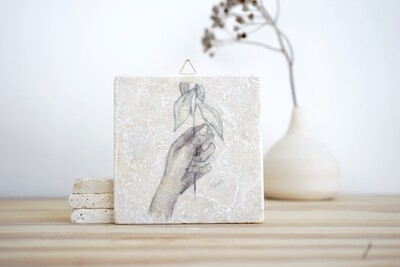 evimstore | Printed Natural Stone Tile - Hand with twig