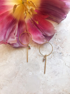 Isa & Roza | Golden Hoop Ear Hangers with little pastel stones