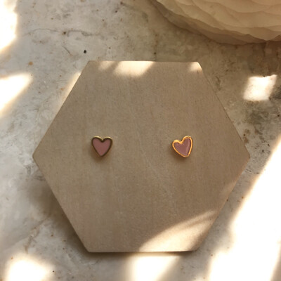 Selva Sauvage | Golden Earstuds Pink Hearts - 14k Gold Plated Sterling Silver (a pair or a single)