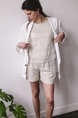 Olá Lindeza | Natural linen t-shirt - sand/beige
