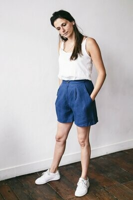 Olá Lindeza | Natural linen short - Indigo blue (last pieces - sizes S & M)