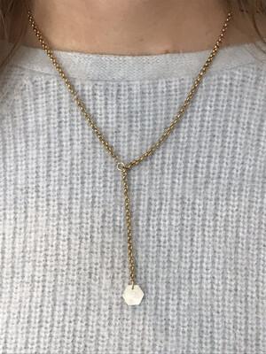 URBAN SWAG | V-neck Golden Necklace Moonstone