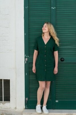 Olá Lindeza | Linen Alberobello Dress - Bottle green (sold out)