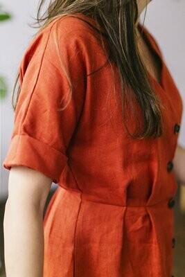 Olá Lindeza | Linen Alberobello Dress - Maroon