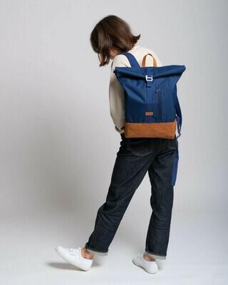 MULINU   Backpack ALBERT blue cognac leather