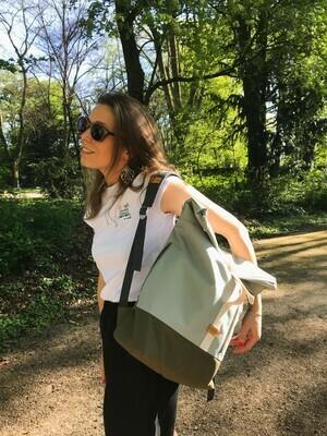 MULINU   Backpack ALBERT light grey olive green