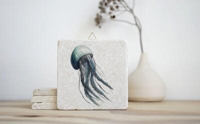 evimstore   Printed Natural Stone Tile - Jellyfish