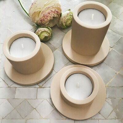 House Raccoon | Portia Tealight Holders (a set of 3) - Sandy Beige