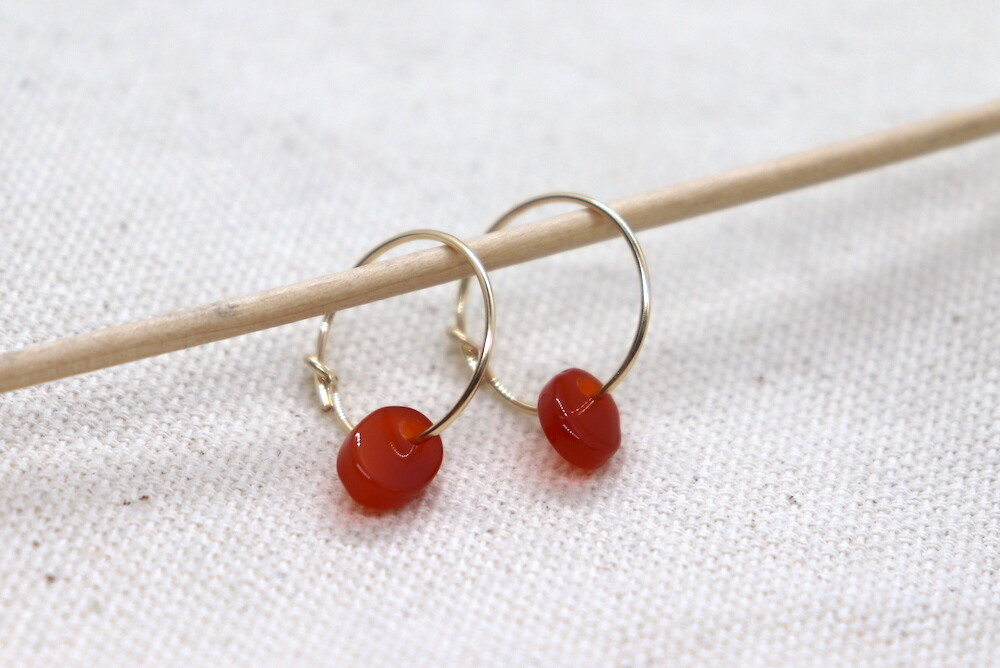 URBAN SWAG | Golden Mini Hoops with Burnt Red Agate Stone